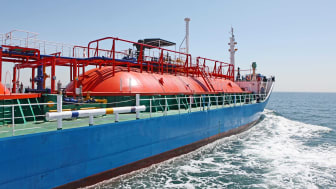 photo of an LNG transport ship