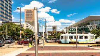 Lightrail stop on Pratt Street in downtown Baltimore, Maryland near the Inner Harbor.