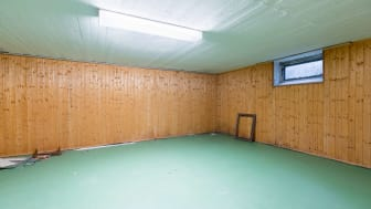 Paneling on the wall of a basement room