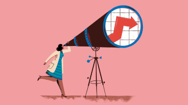 Illustration of woman looking through telescope