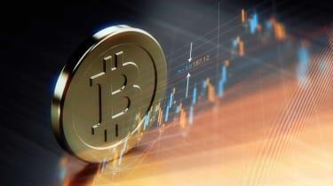 bitcoin symbol over financial chart