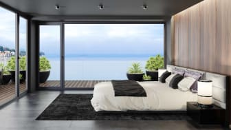 The bedroom of a modern, gorgeous beachside home