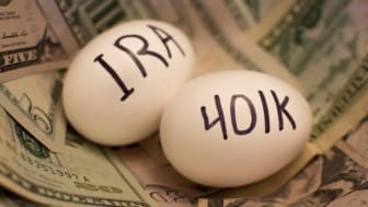 Concept art showing IRA and 401(k) written on eggs