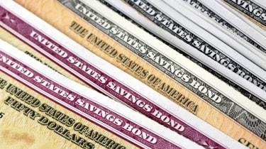Closeup United States Treasury Savings Bonds Security Concept
