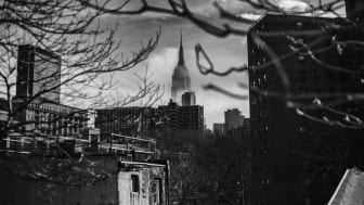 Spooky view of Empire State Building from the High Line walkway