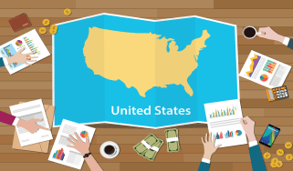 drawing of U.S. map and data charts
