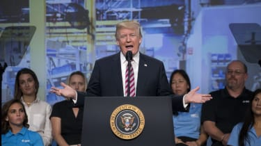 WASHINGTON, DC - SEPTEMBER 29:(AFP OUT) U.S. President Donald Trump delivers remarks on tax reform to the National Association of Manufacturers at the Mandarin Oriental Hotel September 29, 20
