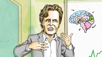 Photo-illustration of Terrance Odean with a brain picture