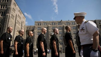picture of West Point cadets lined up on their first day