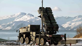 BODO, NORWAY - FEBRUARY 25: In this handout image provided by the German Bundeswehr armed forces a patriot missile Raytheon MIN-104 is seen during the Battle Griffin 2005 excersise on Februar