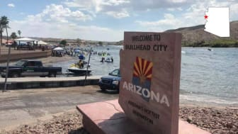 A waterfront welcome sign to Bullhead City, Ariz.