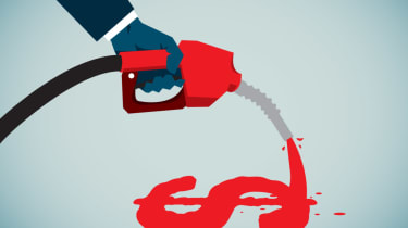 a hand holding a gasoline hose that is pouring out fuel in the shape of a dollar sign