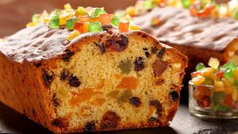 A colorful holiday fruitcake