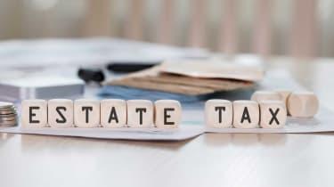 blocks with estate tax written on them