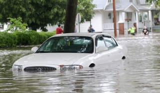 Photo of a flooded vehicle