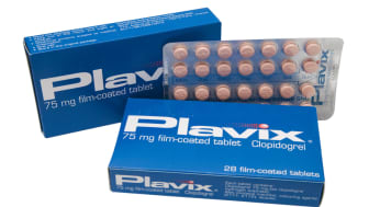 """Aberdeen, Scotland - October 2, 2011: Two boxes of Plavix (Clopidogrel) tablets, an antiplatelet drug which reduces the """"stickiness"""" of platelets in the blood to inhibit formation of blood"