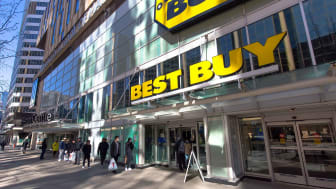 Best Buy store in a city area