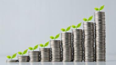 Growing Stack of coins , Saving plan