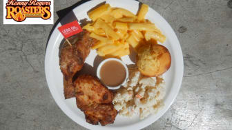 A plate of food from a Kenny Rogers Roasters restaurant