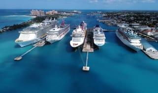 A row of cruise ships.