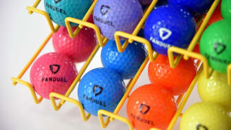 golf balls with fanduel printed on them