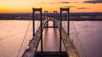 The twin spans of the Delaware Memorial Bridge as seen during the evening hours