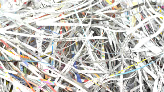 Closeup view of shredded papers.