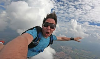 A skydiver goes wild.