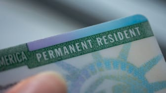 picture of the upper right-hand corner of a immigration permanent resident card