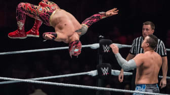 DUESSELDORF, GERMANY - FEBRUARY 22: Sin Cara jumps during to the WWE Live Duesseldorf event at ISS Dome on February 22, 2017 in Duesseldorf, Germany. (Photo by Lukas Schulze/Bongarts/Getty Im
