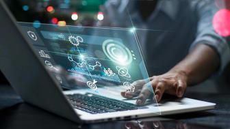 data scientist working on laptop