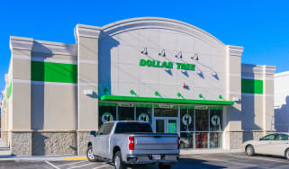 The modern looking front facade of the Dollar Tree store that recently opened in Sandwich, Massachusetts.