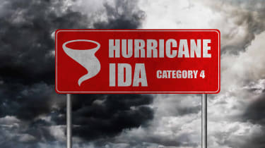 """picture of a sign saying """"Hurricane Ida Category 4"""""""