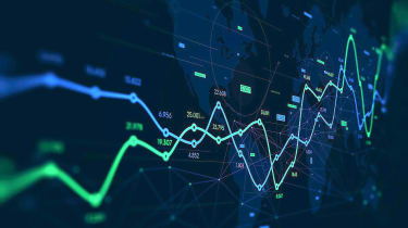 Concept art of rising stock chart
