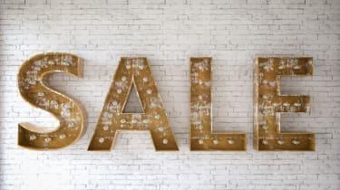 Sale sign with light bulbs