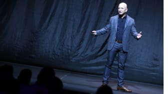 Jeff Bezos, owner of Amazon.com and Blue Origin, speaks about outer space before unveiling a new lunar landing module called Blue Moon, during an event at the Washington Convention Center, May 9, 2019 in Washington, DC.