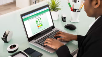 Young African Businesswoman Checking Credit Score On Laptop At Office