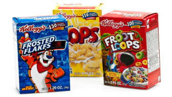 boxes of Fruit Loops, Frosted Flakes and Corn Pops cereal