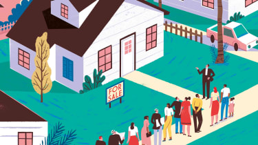 Illustration of a crowd of people outside a house for sale