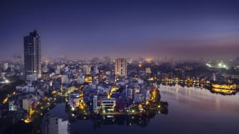 View over Hanoi at twilight.