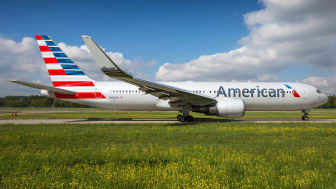 Zurich, Switzerland - May 04, 2014: American Airlines Boeing 767-300/ER departing Zurich airport.