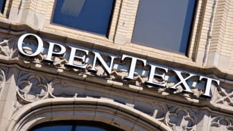 """Ottawa, Canada - May 20, 2012: OpenText Sign. OpenText Corporation is a software company that produces Enterprise Content Management solutions for large corporations."""