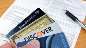 A Discover card among other credit cards