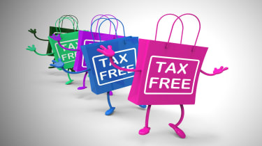 """drawing of dancing shopping bags with """"tax free"""" written on them"""