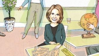 "Photo-illustration of Mary Ellen Stanek reading the interest rate ""tea leaves"""