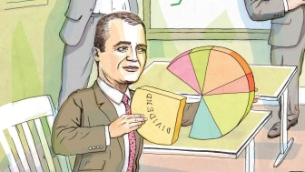 Photo-illustration of Donald Kilbride with a pie chart
