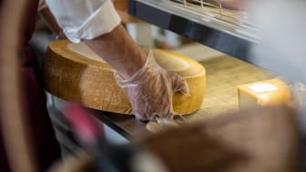 Grocer with cheese wheel, partial view