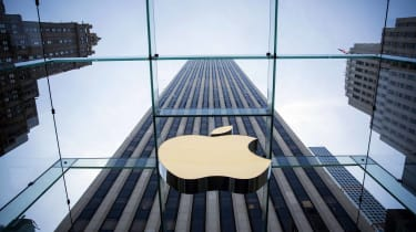 apple logo on skyscraper