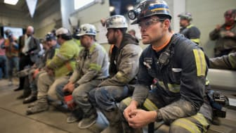 SYCAMORE, PA - APRIL 13:Coal miner Jaden Fredrickson, 26, of Cheat Lake, W.Va., waits prior to the arrival of U.S. Environmental Protection Agency Administrator Scott Pruitt who visited the H
