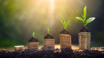 Concept art of money growing from the ground